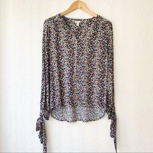 Hinge | Dark Floral Tie Sleeve Blouse V-neckline